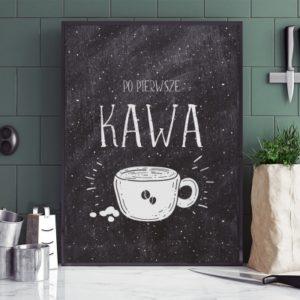 Plakat do kuchni Po pierwsze kawa ciemny