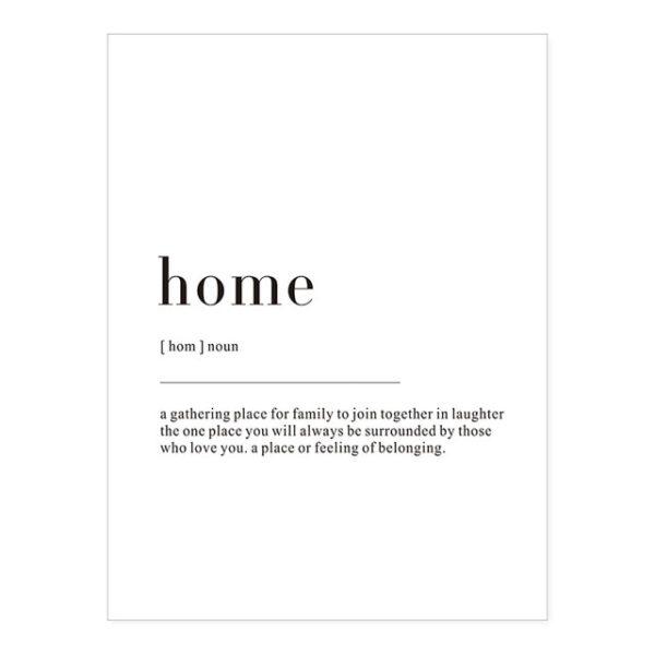 Plakat z napisem Life Definition Home
