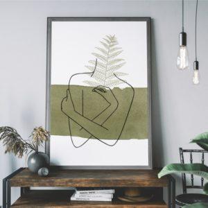 Plakat na ścianę zielone kobieta Kolory Ziemi