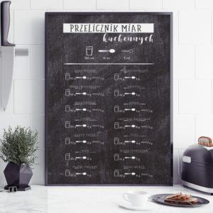 Plakat do kuchni Przelicznik miar ciemny