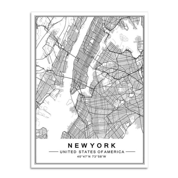 Plakat mapa Nowy Jork