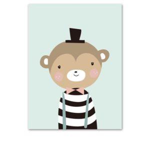 Plakat dla dzieci Małpka z kapeluszem
