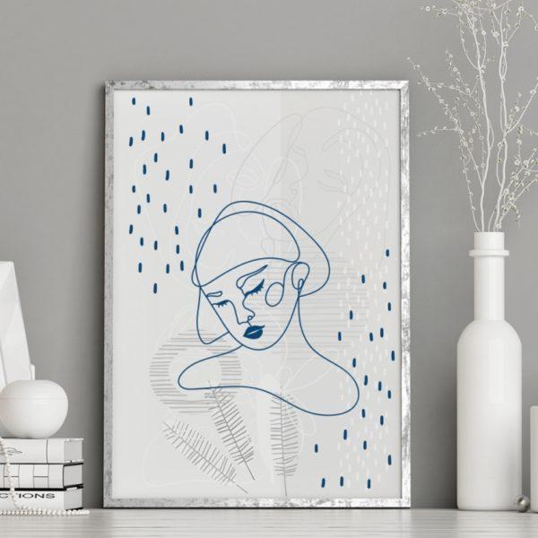 Plakat na ścianę Kobieta Klasyczny Niebieski