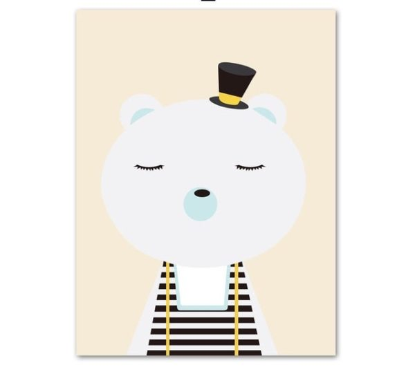 Plakat dla dzieci Miś z kapeluszem