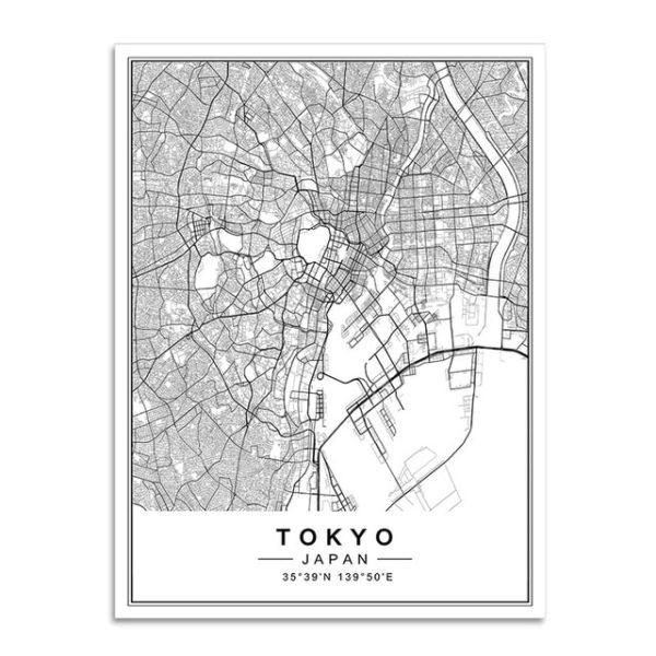 Plakat mapa Tokyo