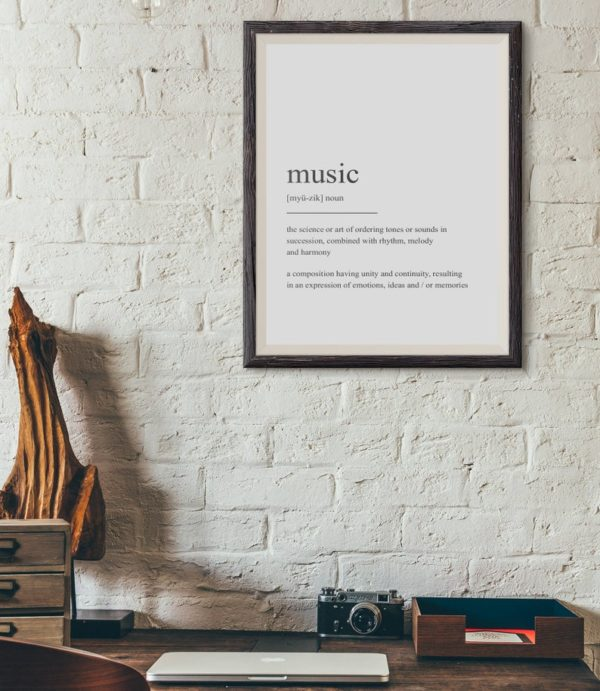 Plakat z napisem Life Definition Music