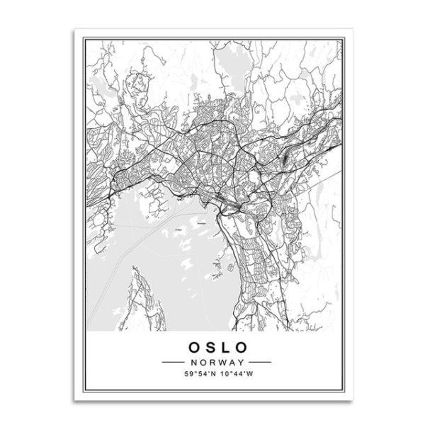Plakat mapa Oslo