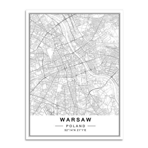 Plakat mapa Warszawa