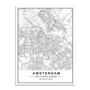 Plakat mapa Amsterdam
