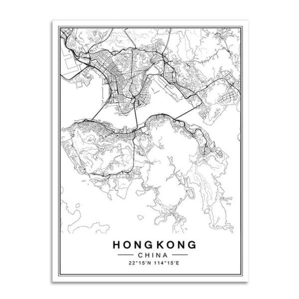 Plakat mapa Hongkong