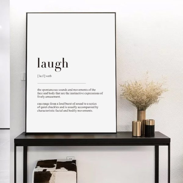 Plakat z napisem Life Definition Laugh