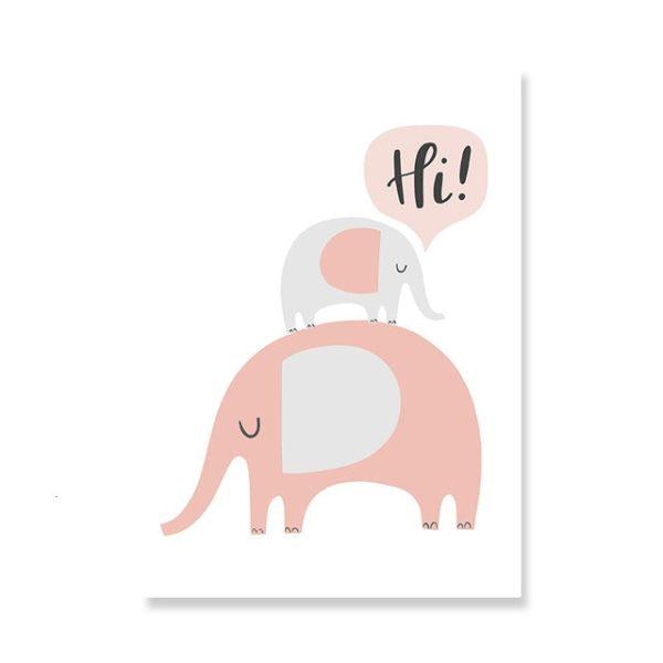 Plakat na ścianę słoniki Hi