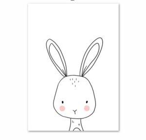 Plakat dla dzieci rysowany króliczek