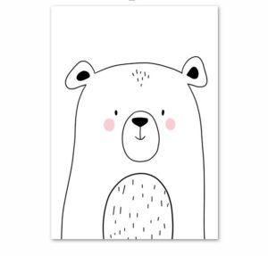 Plakat dla dzieci rysowany miś