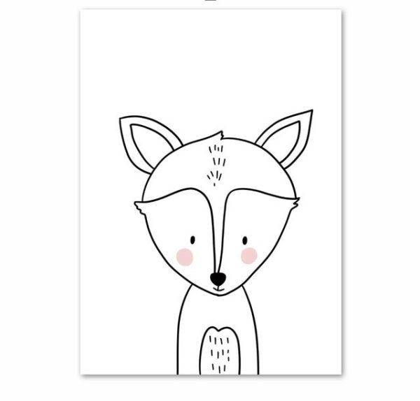 Plakat dla dzieci rysowany lisek