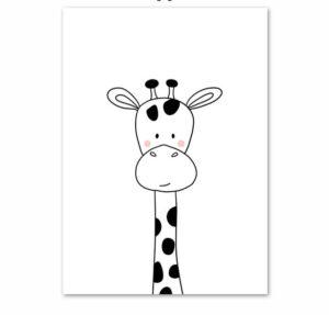Plakat dla dzieci rysowana żyrafa