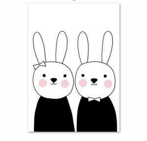 Plakat na ścianę rysowane króliczki