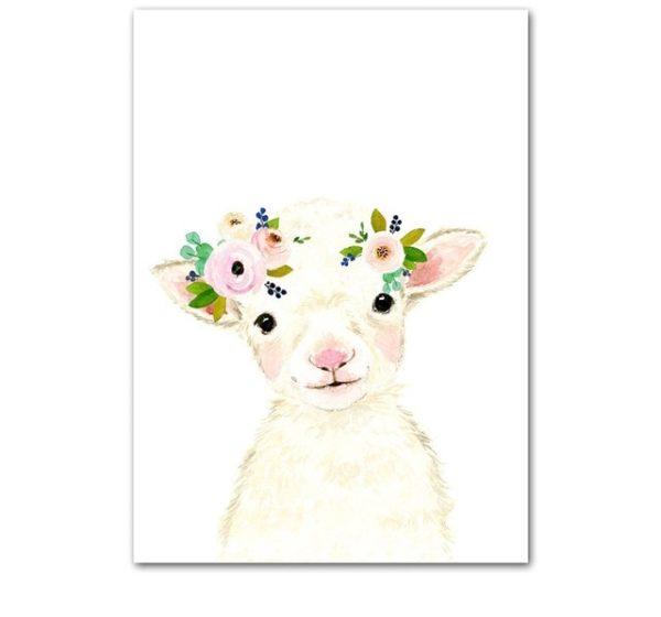 Plakat dla dzieci owieczka z wianuszkiem