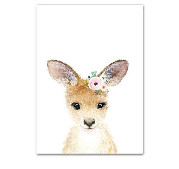 Plakat dla dzieci kangurek z wianuszkiem
