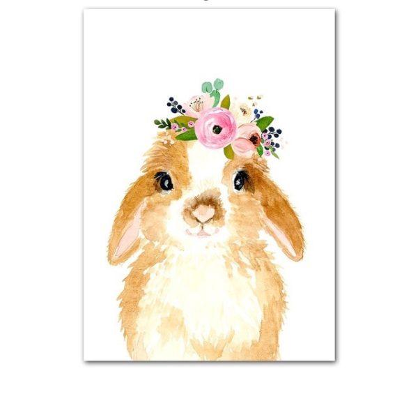 Plakat dla dzieci króliczek z wianuszkiem