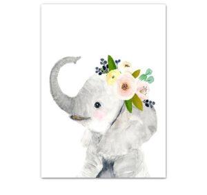 Plakat dla dzieci słonik z wianuszkiem