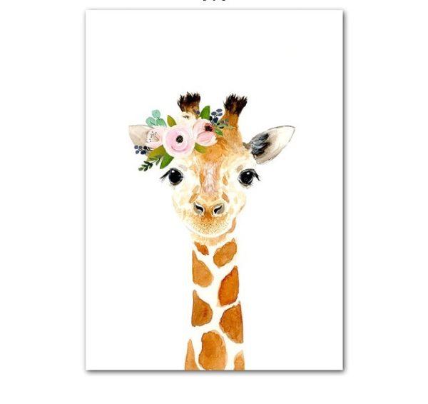 Plakat dla dzieci żyrafa z wianuszkiem