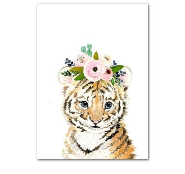 Plakat dla dzieci tygrysek z wianuszkiem