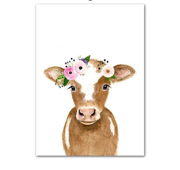 Plakat dla dzieci krówka z wianuszkiem