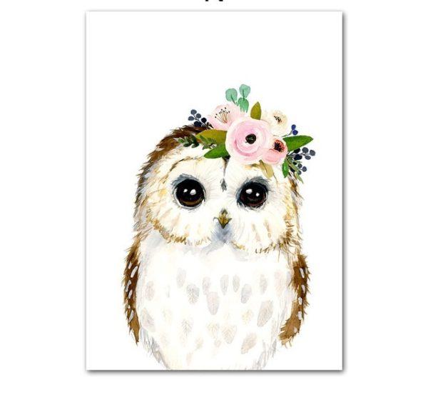 Plakat dla dzieci sowa z wianuszkiem
