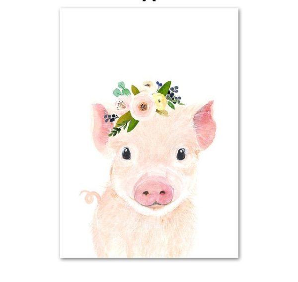 Plakat dla dzieci świnka z wianuszkiem