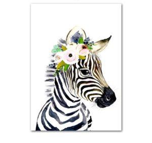 Plakat dla dzieci zebra z wianuszkiem