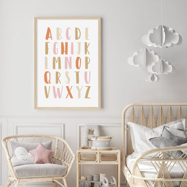 Plakat na ścianę Alfabet Beige