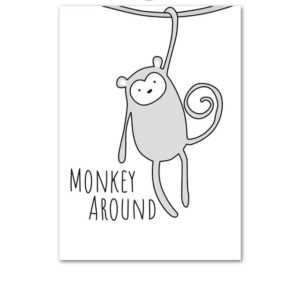 Plakat dla dzieci Monkey Around monochromatyczny