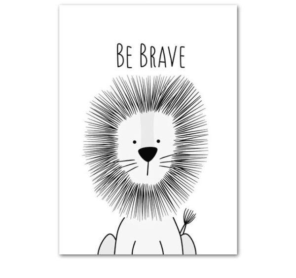 Plakat dla dzieci Be Brave monochromatyczny