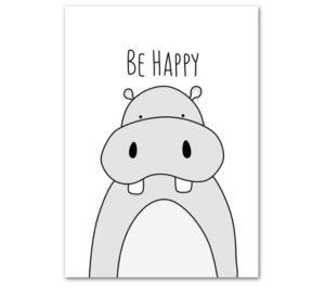 Plakat dla dzieci Be Happy monochromatyczny