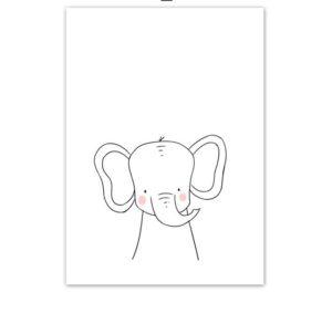 Plakat na ścianę rysowany słoń