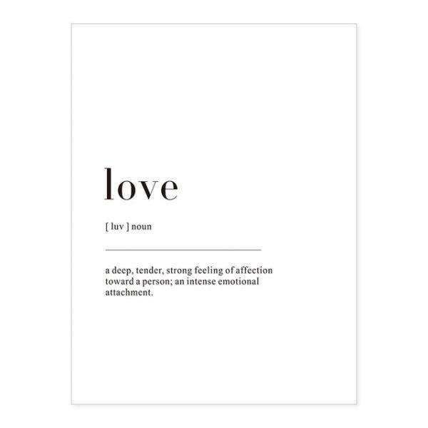Plakat z napisem Life Definition love