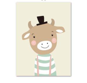 Plakat dla dzieci Byczek z kapeluszem