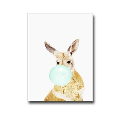 Plakat kangaroo with chewing gum
