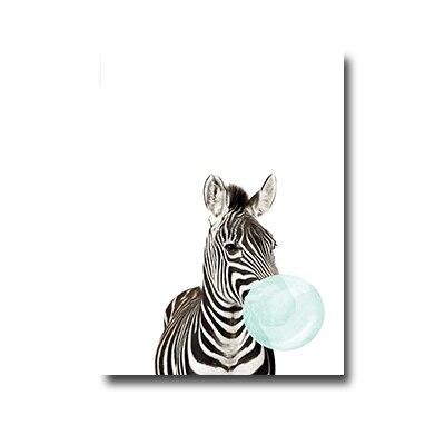 Plakat zebra with chewing gum