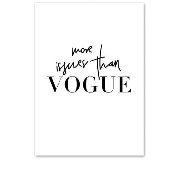 Plakat z napisem more than Vogue