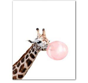 Plakat dla dzieci Żyrafa z gumą balonową